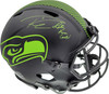"""Russell Wilson Autographed Seattle Seahawks Eclipse Black Full Size Speed Authentic Helmet """"Let Russ Cook!"""" LE #/12 RW Holo & Beckett BAS Stock #182234"""
