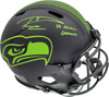 """Russell Wilson Autographed Seattle Seahawks Eclipse Black Full Size Speed Authentic Helmet """"SB XLVIII Champs"""" RW Holo & Beckett BAS Stock #182235"""
