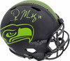 D.K. DK Metcalf Autographed Eclipse Black Seattle Seahawks Full Size Authentic Speed Helmet In Green MCS Holo Stock #185697