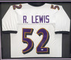 Baltimore Ravens Ray Lewis Autographed White Custom Framed Jersey Beckett BAS Stock #185767