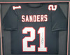 Atlanta Falcons Deion Sanders Autographed Black Custom Framed Jersey Beckett BAS Stock #185769