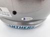 Christian McCaffrey Autographed Carolina Panthers Silver Full Size Speed Replica Helmet Beckett BAS Stock #185920