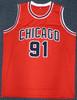 Chicago Bulls Dennis Rodman Autographed Red Jersey Beckett BAS Stock #187467