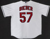 """Cleveland Indians Shane Bieber Autographed White Majestic Cool Base Jersey Size XL """"Go Tribe"""" Beckett BAS Stock #187724"""