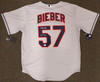 """Cleveland Indians Shane Bieber Autographed Gray Nike Jersey Size L """"Go Tribe"""" Beckett BAS Stock #187726"""