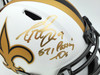 """Drew Brees Autographed New Orleans Saints Lunar Eclipse White Full Size Replica Speed Helmet """"571 Passing TD's"""" Beckett BAS Stock #193497"""