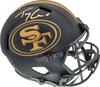 Trey Lance Autographed San Francisco 49ers Eclipse Black Full Size Replica Speed Helmet Beckett BAS QR Stock #194742