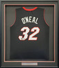 Miami Heat Shaquille Shaq O'Neal Autographed Framed Black Jersey Beckett BAS Stock #195236