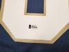 Notre Dame Fighting Irish Lou Holtz Autographed Blue Jersey Beckett BAS Stock #196494
