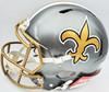 "Drew Brees Autographed New Orleans Saints Flash Silver Full Size Authentic Speed Helmet ""SB XLIV MVP, 80,358 Yards, 571 TDs"" Beckett BAS QR Stock #197102"