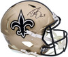 Drew Brees Autographed New Orleans Saints Gold Full Size Authentic Speed Helmet Beckett BAS QR Stock #197107