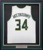 Milwaukee Bucks Giannis Antetokounmpo Autographed Framed White Jersey Beckett BAS Stock #197165