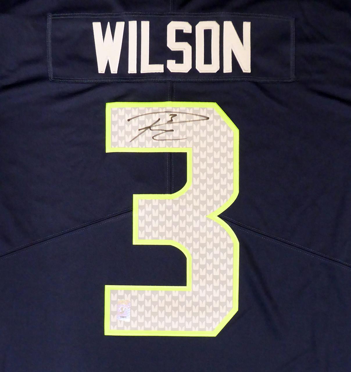 Seattle Seahawks Russell Wilson Autographed Blue Nike Twill Jersey Size XXL RW Holo Stock #159117