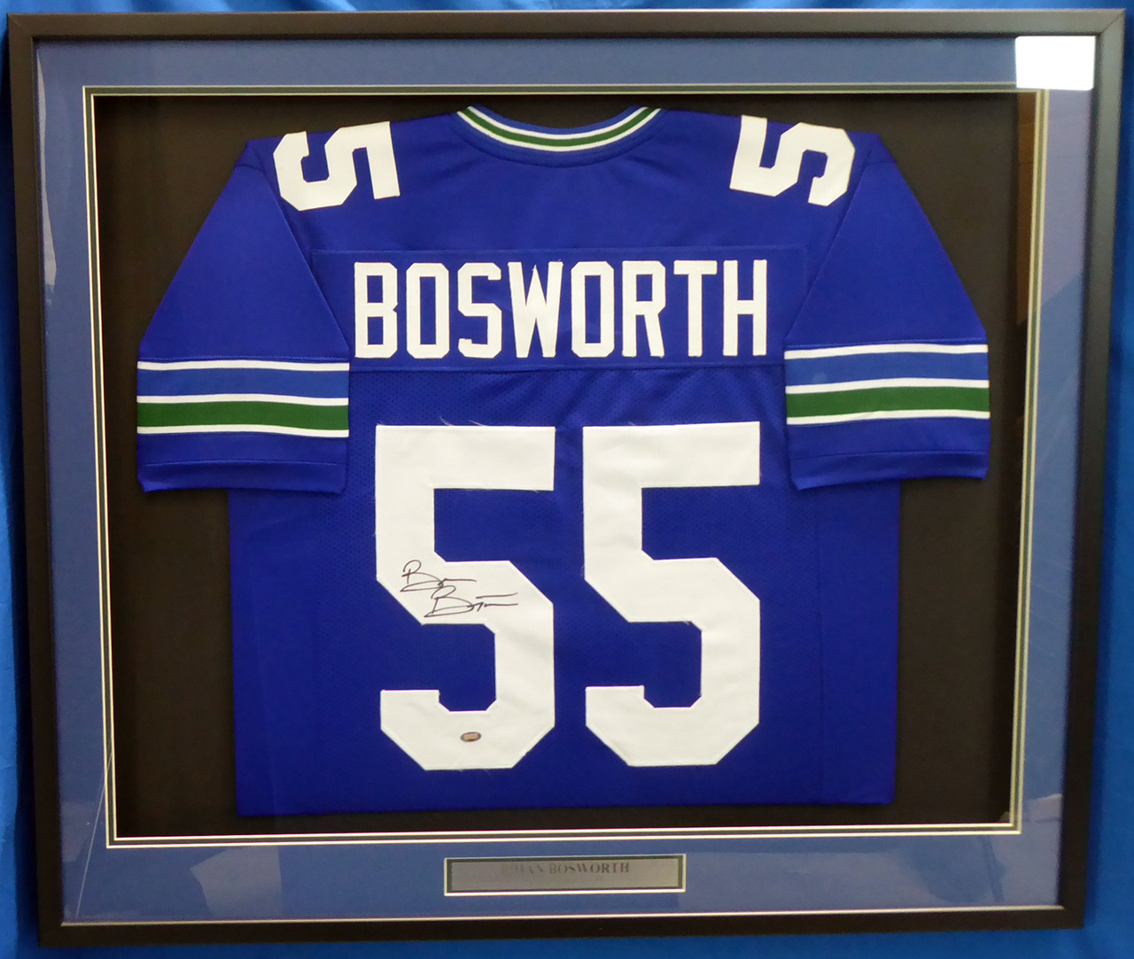 Seattle Seahawks Brian Bosworth Autographed Framed Blue Jersey MCS Holo Stock #174301