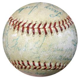 St. Louis Cardinals & Milwaukee Braves Autographed Baseball With 33 Signatures Including Stan Musial, Eddie Mathews & Warren Spahn PSA/DNA #AA08273