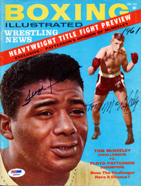 Floyd Patterson & Tom McNeeley Autographed Boxing Illustrated Magazine Cover PSA/DNA #Q95602