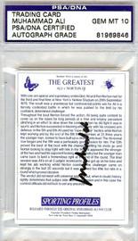 Muhammad Ali Autographed 1993 Sporting Profiles Card #44 Gem Mint 10 PSA/DNA #81969846