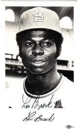Lou Brock Autographed 3.5x5.5 Postcard St. Louis Cardinals SKU #106095