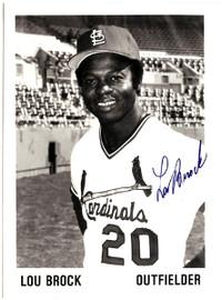Lou Brock Autographed 5x7 Photo St. Louis Cardinals SKU #106115