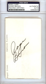 Roger Brown Autographed 3x5 Index Card Indiana Pacers PSA/DNA #83906009