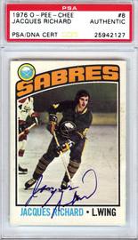 Jacques Richard Autographed 1976 O-Pee-Chee Card #8 Buffalo Sabres PSA/DNA #25942127