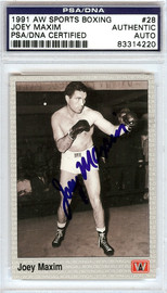 Joey Maxim Autographed 1991 AW Sports Boxing Card #28 PSA/DNA #83314220