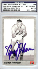 Ingemar Johansson Autographed 1991 AW Sports Boxing Card #93 PSA/DNA #83314021