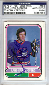 Lars-Erik Sjoberg Autographed 1975 O-Pee-Chee WHA Card #109 Winnipeg Jets PSA/DNA #83462990