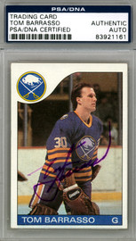 Tom Barrasso Autographed 1985-86 Topps Card #105 Buffalo Sabres PSA/DNA #83921161