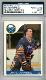 Tom Barrasso Autographed 1985-86 Topps Card #105 Buffalo Sabres PSA/DNA #83921162
