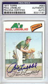 Paul Lindblad Autographed 1977 Topps Card #583 Oakland A's PSA/DNA #83317161