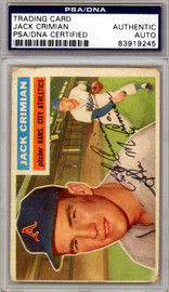 Jack Crimian Autographed 1956 Topps Card #319 Kansas City A's PSA/DNA #83919245