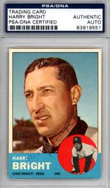 Harry Bright Autographed 1963 Topps Card #304 Cincinnati Reds PSA/DNA #83919551