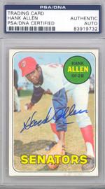 Hank Allen Autographed 1969 Topps Card #623 Washington Senators PSA/DNA #83919732