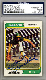 Paul Lindblad Autographed 1974 Topps Card #369 Oakland A's PSA/DNA #83919810