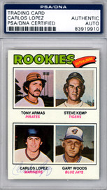 Carlos Lopez Autographed 1977 Topps Rookie Card #492 Seattle Mariners PSA/DNA #83919910