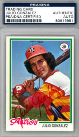 Julio Gonzalez Autographed 1978 Topps Rookie Card #389 Houston Astros PSA/DNA #83919951