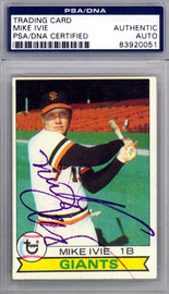 Mike Ivie Autographed 1979 Topps Card #538 San Francisco Giants PSA/DNA #83920051