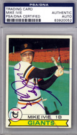 Mike Ivie Autographed 1979 Topps Card #538 San Francisco Giants PSA/DNA #83920052