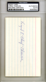 """Virgil """"Chief"""" Cheeves Autographed 3x5 Index Card Chicago Cubs PSA/DNA #83935923"""