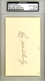 Roy Weatherly Autographed 3x5 Index Card New York Yankees, Cleveland Indians PSA/DNA #83936332