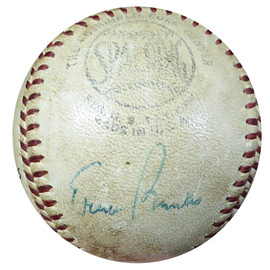 "Ernie Banks Autographed Official National League Game Used Baseball Cubs Vintage Signature ""Foul Ball 1960"" PSA/DNA #AC00440"