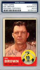 Hal Brown Autographed 1963 Topps Card #289 New York Yankees PSA/DNA #83764197