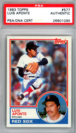 Luis Aponte Autographed 1983 Topps Rookie Card #577 Boston Red Sox PSA/DNA #26601095