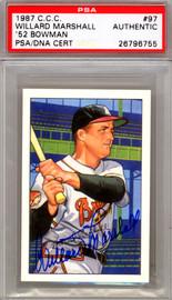 Willard Marshall Autographed 1987 1952 Bowman Reprint Card #97 Boston Braves PSA/DNA #26796755