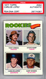 Carlos Lopez Autographed 1977 Topps Rookie Card #492 Seattle Mariners PSA/DNA #26774387
