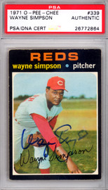 Wayne Simpson Autographed 1971 O-Pee-Chee Card #339 Cincinnati Reds PSA/DNA #26772864