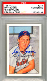 Ray Boone Autographed 1987 1952 Bowman Reprint Card #214 Cleveland Indians PSA/DNA #26796139