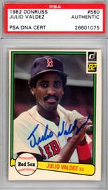 Julio Valdez Autographed 1982 Donruss Card #560 Boston Red Sox PSA/DNA #26601075