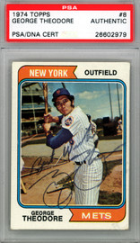 George Theodore Autographed 1974 Topps Card #8 New York Mets PSA/DNA #26602979